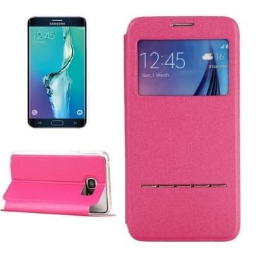 Samsung Galaxy S6 Edge+ horizontaal PU leren Flip Hoesje met houder en handig kijkvenster (hard roze)