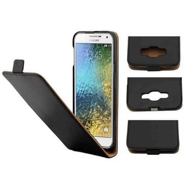 Crazy Horse structuur verticaal flip solide magnetische kleurenknop lederen hoesje voor Samsung Galaxy E7 / E7000(zwart)