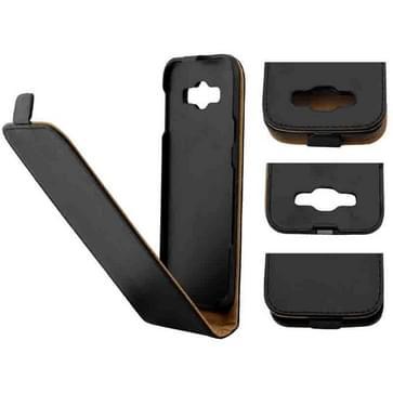 Crazy Horse structuur verticaal flip solide magnetische kleurenknop lederen hoesje voor Samsung Galaxy E5(zwart)