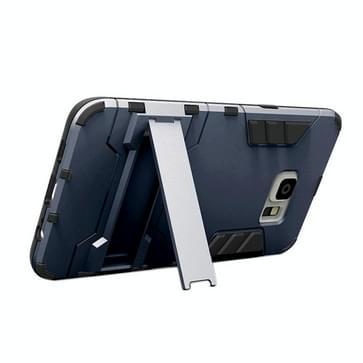 Samsung Galaxy S6 Edge+ Kunststof + TPU back cover Hoesje met houder (marine blauw)
