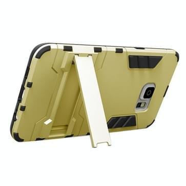 Samsung Galaxy S6 Edge+ Kunststof + TPU back cover Hoesje met houder (goudkleurig)