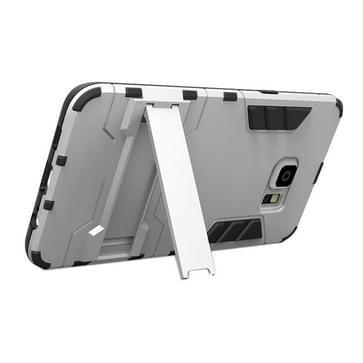 Samsung Galaxy S6 Edge+ Kunststof + TPU back cover Hoesje met houder (zilverkleurig)