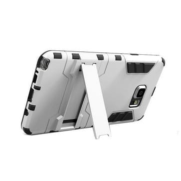 Samsung Galaxy Note 5 / N920 robuust schokbestendig TPU + kunststof back cover Hoesje met houder (zilverkleurig)
