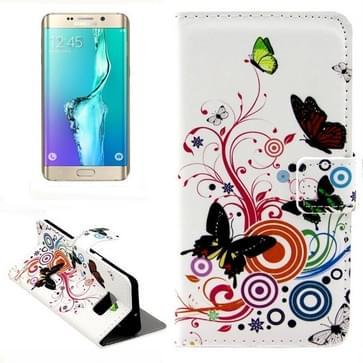 Gekleurde vlinder patroon horizontaal Flip lederen hoesje met opbergruimte voor pinpassen & portemonnee & houder voor Samsung Galaxy S6 Edge Plus / G9280