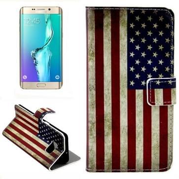 Retro USA Vlag patroon horizontaal Flip lederen hoesje met opbergruimte voor pinpassen & portemonnee & houder voor Samsung Galaxy S6 Edge Plus / G9280