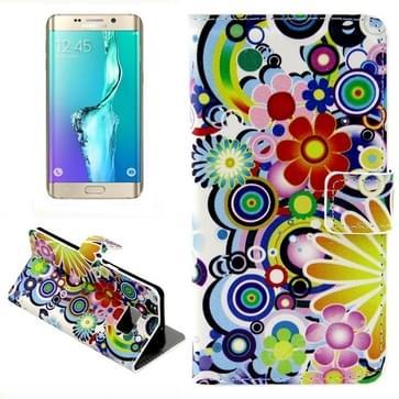 Kleurrijk Daisy Bloemen patroon horizontaal Flip lederen hoesje met opbergruimte voor pinpassen & portemonnee & houder voor Samsung Galaxy S6 Edge Plus / G9280