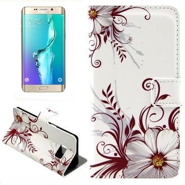 Bloemen patroon horizontaal Flip lederen hoesje met opbergruimte voor pinpassen & portemonnee & houder voor Samsung Galaxy S6 Edge Plus / G9280