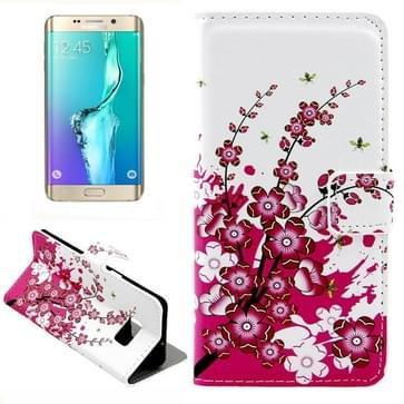 Pruimenbloesem patroon horizontaal Flip lederen hoesje met opbergruimte voor pinpassen & portemonnee & houder voor Samsung Galaxy S6 Edge Plus / G9280