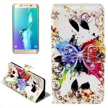 Creative vlinder patroon horizontaal Flip lederen hoesje met opbergruimte voor pinpassen & portemonnee & houder voor Samsung Galaxy S6 Edge Plus / G9280