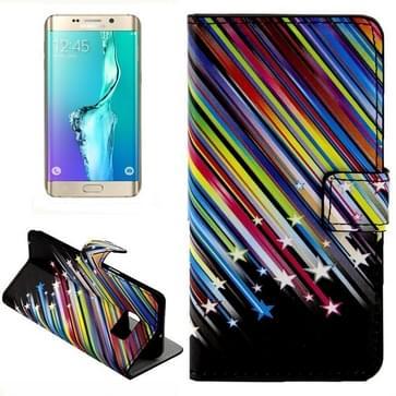 Kleurrijk Meteor Shower patroon horizontaal Flip lederen hoesje met opbergruimte voor pinpassen & portemonnee & houder voor Samsung Galaxy S6 Edge Plus / G9280