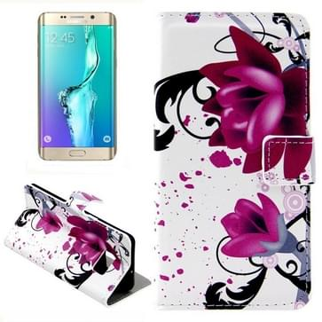 Paarse bloemen patroon horizontaal Flip lederen hoesje met opbergruimte voor pinpassen & portemonnee & houder voor Samsung Galaxy S6 Edge Plus / G9280