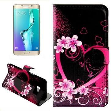 Creative Heart-shaped patroon horizontaal Flip lederen hoesje met opbergruimte voor pinpassen & portemonnee & houder voor Samsung Galaxy S6 Edge Plus / G9280