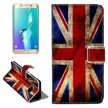 Retro UK Vlag patroon Button horizontaal Flip lederen hoesje met opbergruimte voor pinpassen & portemonnee & houder voor Samsung Galaxy S6 Edge Plus / G9280