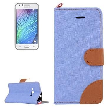 Samsung Galaxy J1 Ace horizontaal Denim structuur PU leren Flip Hoesje met magnetische sluiting  houder en opbergruimte voor pinpassen (blauw)