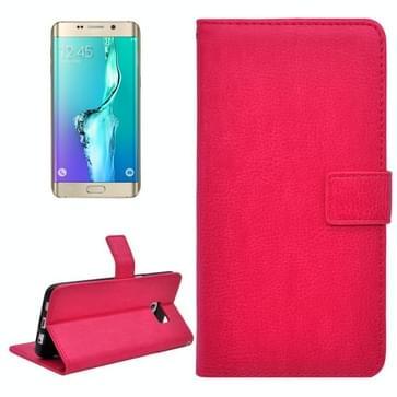 Samsung Galaxy S6 Edge+ horizontaal Litchi structuur PU leren Flip Hoesje met houder, magnetische sluiting en opbergruimte voor pinpassen & geld (hard roze)