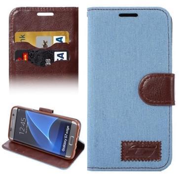 Samsung Galaxy S7 Edge / G935 horizontaal Jeans structuur PU leren Flip Hoesje met houder en opbergruimte voor pinpassen (licht blauw)