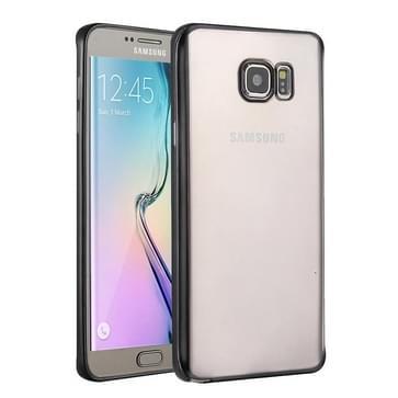 Samsung Galaxy S6 Edge / G925 gegalvaniseerd TPU back cover Hoesje (zwart)