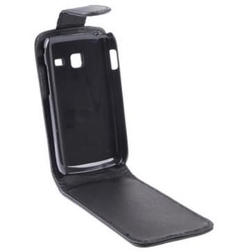 Verticale Flip lederen hoesje voor Samsung Galaxy Y Duos / S6102  zwart