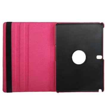 360 graden draaiend Litchi structuur lederen hoesje met houder voor Samsung Galaxy Tab Pro 10.1 / T520 (hard roze)