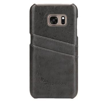 Voor Samsung Galaxy S7 / G930 olie Wax structuur lederen backcover hoesje met opbergruimte voor pinpassen (grijs)
