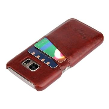 Voor Samsung Galaxy S7 / G930 olie Wax structuur lederen backcover hoesje met opbergruimte voor pinpassen (bruin)