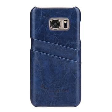 Voor Samsung Galaxy S7 Edge / G935 olie Wax structuur lederen backcover hoesje met opbergruimte voor pinpassen (donker blauw)
