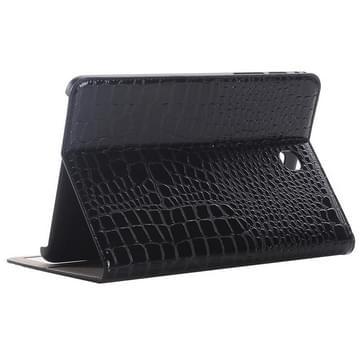 Samsung Galaxy Tab A 8.0 / T350 horizontaal Krokodil structuur PU leren Flip Hoesje met houder en opbergruimte voor pinpassen & geld (zwart)
