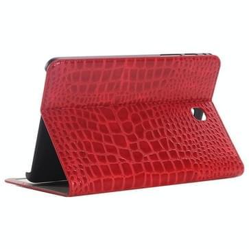 Samsung Galaxy Tab A 8.0 / T350 horizontaal Krokodil structuur PU leren Flip Hoesje met houder en opbergruimte voor pinpassen & geld (rood)