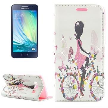 Samsung Galaxy A3 / A300 horizontaal met nep diamanten ingelegd Fashion girl patroon PU leren Flip Hoesje met houder en opbergruimte voor pinpassen (B)
