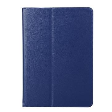 Samsung Galaxy Tab A 9.7 / T550 horizontaal Litchi structuur PU leren Flip Hoesje met tweevouws houder (donker blauw)