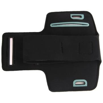 Universeel PU leren sport armband Hoesje met opening koptelefoon aansluiting voor o.a. iPhone 8 / 7 / 6  Samsung Galaxy S5 / S4 / S3 (zwart)