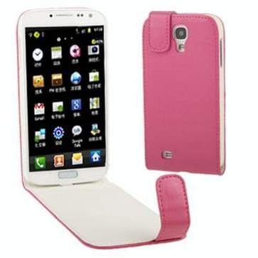 Pure Kleur Vertical Flip lederen hoesje voor Samsung Galaxy S IV / i9500 (hard roze)