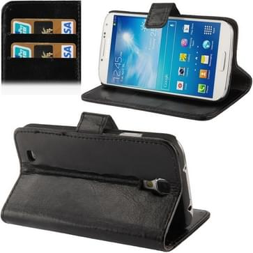 Fine Sheepskin Texture Flip Leather Case with Credit Card Slots & Holder for Galaxy S IV  / i9500(Black)