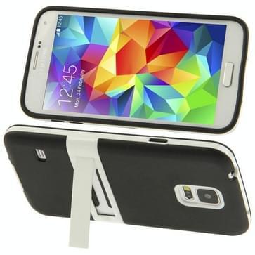 Samsung Galaxy S5 / G900 transparant Frosted structuur TPU back cover Hoesje met kunststof houder (zwart)