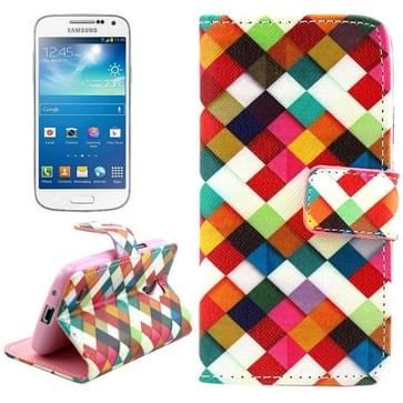 Samsung Galaxy S4 Mini / i9190 / i9195 horizontaal Kleurrijk raster patroon PU leren Flip Hoesje met houder en opbergruimte voor pinpassen & geld