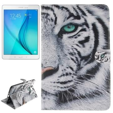 Samsung Galaxy Tab A 8.0 / T350 horizontaal Wit tijger patroon PU leren Flip Hoesje met houder en opbergruimte voor pinpassen & geld