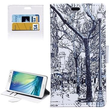 Samsung Galaxy A5 / A500 horizontaal Stad straat achtergrond patroon PU leren Flip Hoesje met houder, magnetische sluiting en opbergruimte voor pinpassen & geld