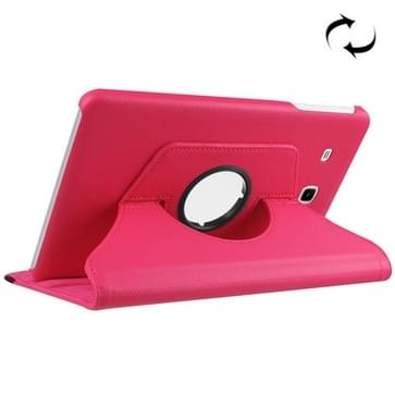 Samsung Galaxy Tab E 9.6 / T560 horizontaal Litchi structuur PU leren Flip Hoesje met 360 graden draaiende houder (hard roze)