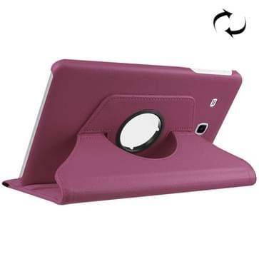 Samsung Galaxy Tab E 9.6 / T560 horizontaal Litchi structuur PU leren Flip Hoesje met 360 graden draaiende houder (paars)