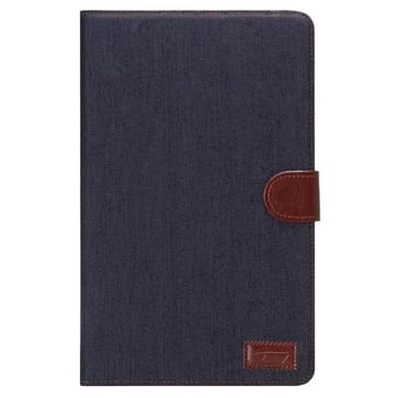 Samsung Galaxy Tab E 9.6 / T560 horizontaal Tweekleurig Jeans structuur PU leren Flip Hoesje met houder en opbergruimte voor pinpassen & geld (zwart)