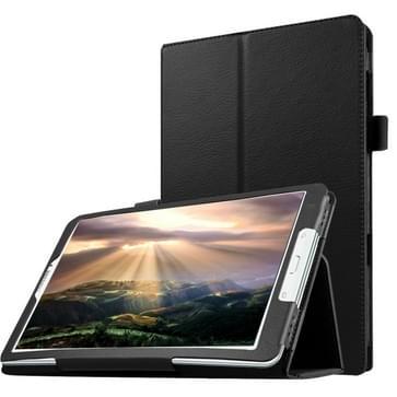 Samsung Galaxy Tab E 8.0 / T377V horizontaal Litchi structuur PU leren Flip Hoesje met houder (zwart)