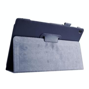 Asus ZenPad 10 / Z300C horizontaal Litchi structuur PU leren Flip Hoesje met houder (donker blauw)
