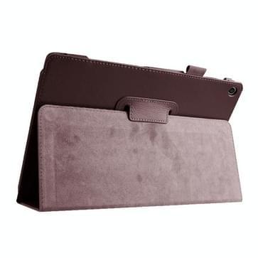 Asus ZenPad 10 / Z300C horizontaal Litchi structuur PU leren Flip Hoesje met houder (bruin)