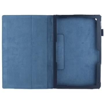 Sony Xperia Z2 10.1 Tablet horizontaal Litchi structuur PU leren Flip Hoesje met houder (donker blauw)