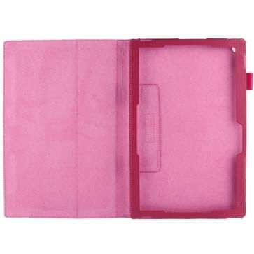 Sony Xperia Z2 10.1 Tablet horizontaal Litchi structuur PU leren Flip Hoesje met houder (hard roze)