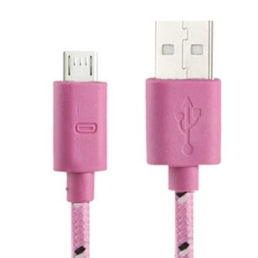 Nylon Netting Style Micro 5 Pin USB Data Transfer / Charge Cable for Galaxy S IV / i9500 / S III / i9300 / Note II / N7100 / Nokia / HTC / Blackberry / Sony  Length: 3m(Pink)