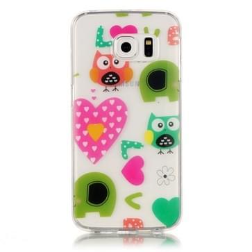 Samsung Galaxy S6 Edge / G925 Glossy LOVE uilen patroon TPU back cover Hoesje