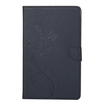 Samsung Galaxy Tab 7.0 2016 / T280N horizontaal 3D bloemen vlinders patroon PU leren Flip Hoesje met houder en opbergruimte voor pinpassen & geld (zwart)