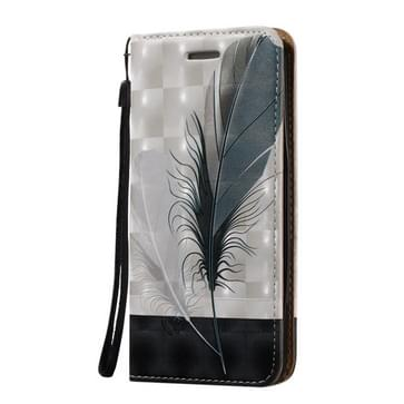 For Galaxy S7 Edge / G935 3D Embossed Feather Pattern Magnetic Closure Horizontal Flip Leather Case with Holder & Card Slots & Lanyard
