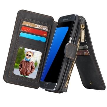 Samsung Galaxy S7 Edge / G935 horizontaal multifunctioneel PU leren CaseMe Flip Hoesje met magnetisch verbonden afneembaar back cover, foto frame en opbergruimte voor veel pinpassen & geld (zwart)